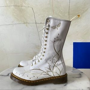 Dr. Martens Tall Boots White Butterfly Skull 9